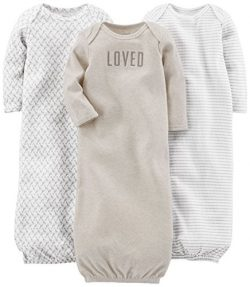 Simple Joys by Carter's Baby 3-Pack Neutral Cotton Sleeper Gown, Grey/White, 0-3 Months