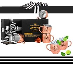 Set of 4 Moscow Mule Copper Mugs with Stainless Steel Lining and Shot Glass in Gift Box, Premium ...