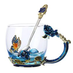 Tea Cup Coffee Mug Glassess Cups & Spoon Beautiful Unique Gift For Women Butterfly Rose (Blu ...