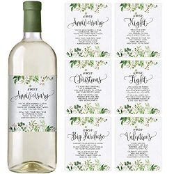 Greenery Wedding First Wine Bottle Labels, Set of 6 Waterproof Wine Bottle Labels, Wedding Gift, ...