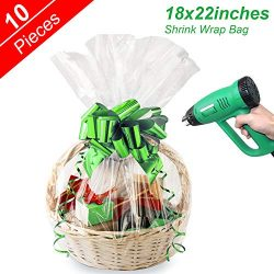 Shrink Wrap Bags Clear Cellophane Bags for Christmas Hamper Basket and Gifts, 18×22 inches  ...