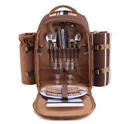 apollo walker Picnic Backpack Bag for 2 Person with Cooler Compartment, Detachable Bottle/Wine H ...