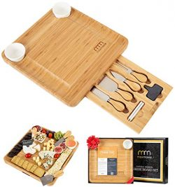 Cheese Board and Cutlery Set (Top Quality Elegant Packaging) Unique Bamboo Charcuterie Platter a ...