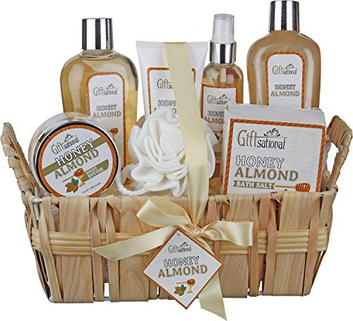 Spa Gift Basket with Honey Almond Fragrance, Includes Shower Gel, Bubble Bath, Body Lotion, Body ...
