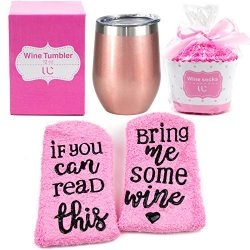 Stainless Steel 12 oz Wine Tumbler + Cupcake Wine Socks Gift Set | Double Insulated Stemless Win ...