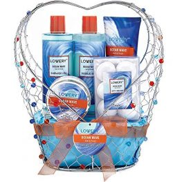 Bath and Body Gift Basket For Women & Men – Ocean Wave Home Spa Set, Includes Fragrant ...
