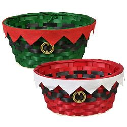 Festive Woven Bamboo Holiday Character Baskets – Set of 2