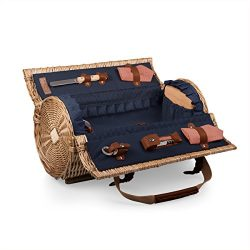 Picnic Time Verona Insulated Wine Basket with Wine/Cheese Service for Two, Adeline Collection