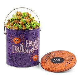 Happy Halloween Caramel Apple Popcorn Tin – Halloween Gift for Adults, Kids, Coworkers, Fr ...