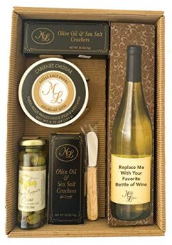 Christmas Wine and Cheese Holiday Gift Basket Box