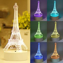 3D Illusion Platform Night Light, Eiffel Tower 7 Colors Decor Remote Control 3D Night Touch Butt ...