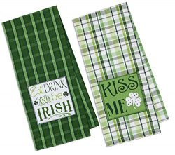 Design Imports DII Luck of The Irish 18×28 Dishtowels, Green Plaid (Set of 2)