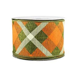 Orange Creamsicle Wired Halloween Ribbon – 2 1/2 inch x 10 Yards, Orange, Green and Cream  ...