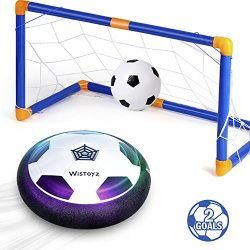 Kids Toys Hover Soccer Ball Set with 2 Goals, Air Soccer with Led Light, Excellent Time Killer f ...