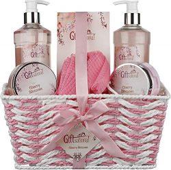 Cherry Blossom Spa Gift Basket, Includes Shower Gel, Bubble Bath, Bath Salts, Bath Bomb, And Muc ...