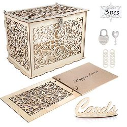 Coodoo Wedding Decorations Card Box and Guest Book Clover Wooden Card Holder Money Box with Secu ...