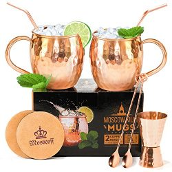 Most complete Moscow mule kit – Do not overpay, 7 extra items come with the mugs. 2x16OZ M ...