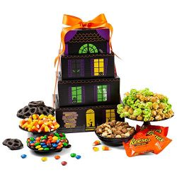 Haunted House Halloween Gift Tower – Halloween Gifts of Halloween Candy, Candy Corn, Hallo ...