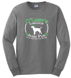 Dog Owner Gifts St Patricks Day Dog Labrador Lab Irish Pub Sign Long Sleeve T-Shirt 2XL SpGry Sp ...