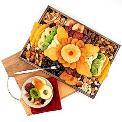 Dried Fruit & Nuts Platter Gift on Wooden Tray for Prime Delivery – Gourmet Food Gifts ...
