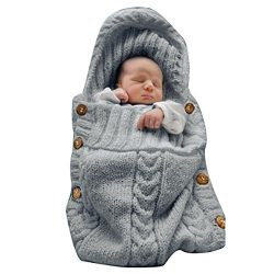 XMWEALTHY Newborn Baby Wrap Swaddle Blanket Knit Sleeping Bag Receiving Blankets Stroller Wrap f ...