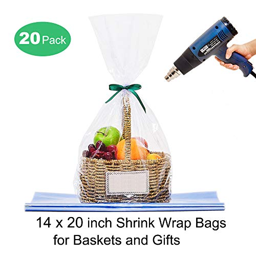 LazyMe Clear Basket Cellophane Bags Shrink Wrap Bags Cello Bags for Gift Basket, 14×20 inch ...