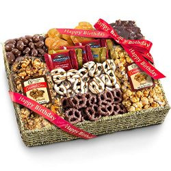 Golden State Fruit Chocolate Caramel & Crunch Grand Gift Basket, Happy Birthday