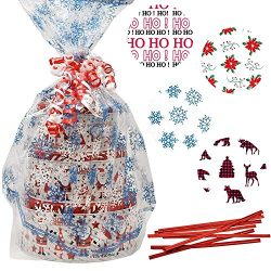 Gift Boutique Plastic Jumbo Christmas Cello Basket Bags, Christmas Cookie Tray Bags Pack of 8 Ho ...