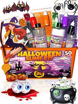 Halloween Slime Kit for Girls and Boys – 50 Pieces DIY Slime Making Set Supplies – S ...
