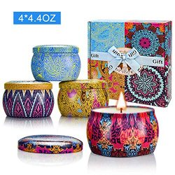 Yinuo Candle Women Scented Candles Set, 100% Soy Wax Portable Tin Candles, Stress Relief and Aro ...