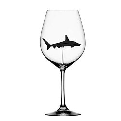 Websad_Home The Original Shark Red Wine Glass Wine BottleCrystal for Party Flutes Glass (Black)