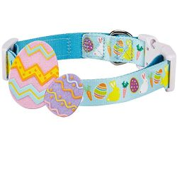 Blueberry Pet 8 Patterns Easter Spring Bunny and Egg Designer Adjustable Dog Collar in Sky Blue, ...