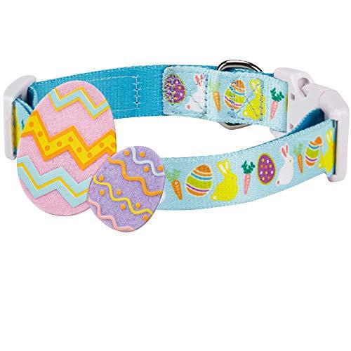 Blueberry Pet 8 Patterns Easter Spring Bunny and Egg Designer Adjustable Dog Collar in Sky Blue, ...