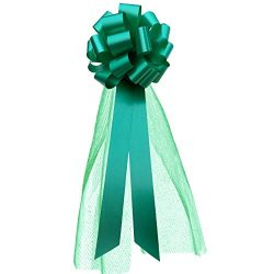 Large Emerald Green Pull Bows with Long Tulle Tails – 9″ Wide, Set of 6, Christmas,  ...