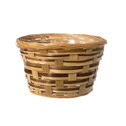 6″ Round Natural Bamboo Handwoven Arrangement Basket- 4″x6″ with braided rim ( ...