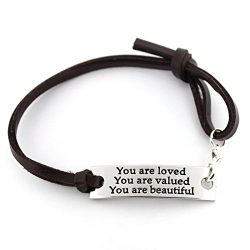 "saying stamped ""You are loved You are valued You are beautiful"" leather inspirationa ..."