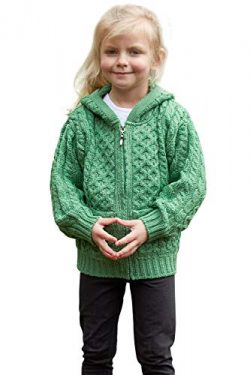 Irish Merino Wool Hooded Aran Children's Zip Sweater