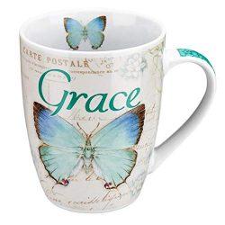 Amazing Grace Butterfly Mug – Botanic Teal and Blue Butterfly Coffee Mug w/ Ephesians 2:8, ...