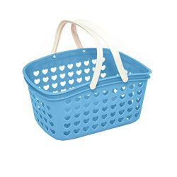 Plastic Organizing Storage Basket with Handles and Holes – Small Bin for Shower, Closet, K ...