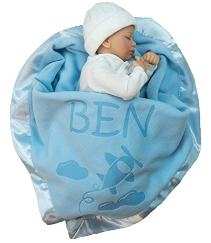 Personalized Airplane Baby Blanket Gifts – Large Custom Blankets, Boy or Girls (Blue, Pink ...
