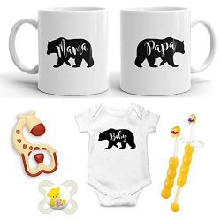 Mama Bear + Papa Bear + Baby Bear Pregnancy Gift – New Mommy and Daddy 11 oz Mug Set with& ...