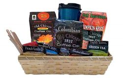 Gift Baskets – Old Chicago Coffee & Tea Gift Basket with Travel Mug & Scented Candle