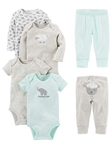 Simple Joys by Carter's Baby 6-Piece Neutral Bodysuits (Short and Long Sleeve) and Pants S ...