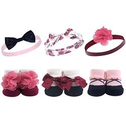 Hudson Baby Girls' Sock and Headband Giftset, Burgundy Floral 6 Piece, One Size