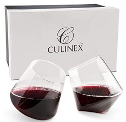 Hand Blown Stemless Wine Glasses, Set of 2 – Naturally Aerating, Elegant Wine Glassware fo ...