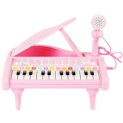 Conomus Piano Keyboard Toy for Kids,1 2 3 4 Year Old Girls First Birthday Gift , 24 Keys Multifu ...