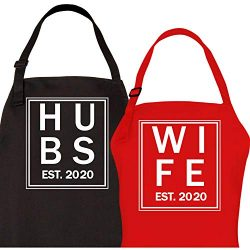 Let the Fun Begin Hubs and Wife 2020 Couples Aprons, His Hers Bridal Shower Gift (1 Red, 1 Black)