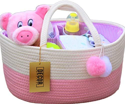 Decor Mantra Baby Diaper Caddy Organizer Basket -Rope Nursery Storage – Large Size Baby Ba ...