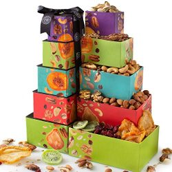 Oh! Nuts Christmas Nut & Dried Fruit Gift Towers, Gourmet Holiday Assortment Food Tower Sets ...