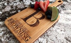 Personalized Engraved Cutting Board with Handle Housewarming and Wedding Gift for Kitchen (5 x 1 ...